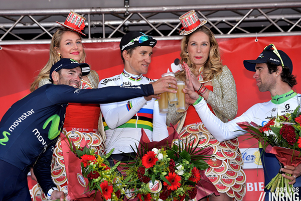 Kwiatkowski, Valverde e Matthews sul palco della Amstel 2015