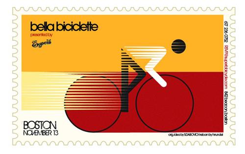 Francobollo commemorativo dell'esposizione di biciclette d'epoca Bella Biciclette a Boston