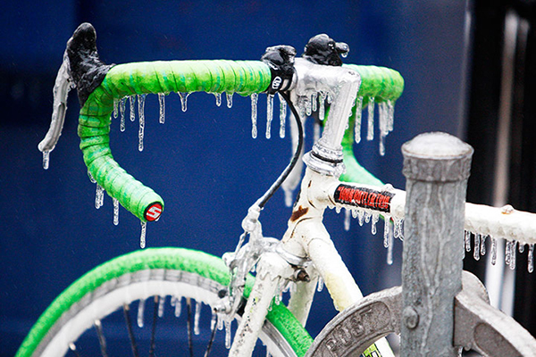 Bici congelata a Natale a Toronto