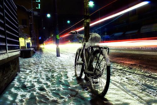 Bici a Bologna sotto la neve