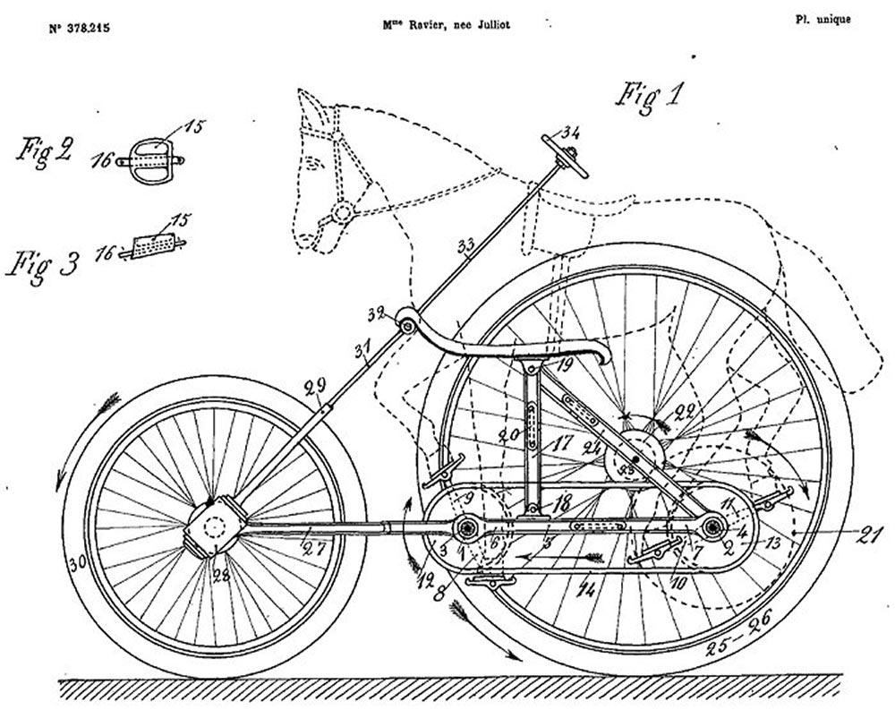 Il brevetto di Madeleine Ravier per una bicicletta per animali