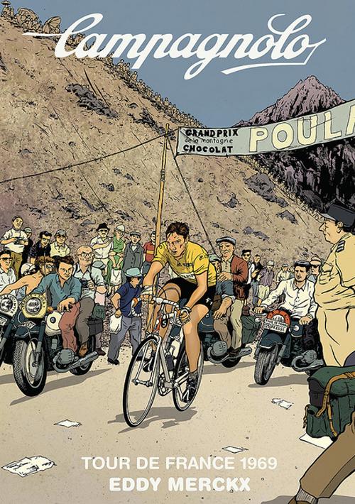 Manifesto della Campagnolo con Eddy Mercks al Tour del 1969