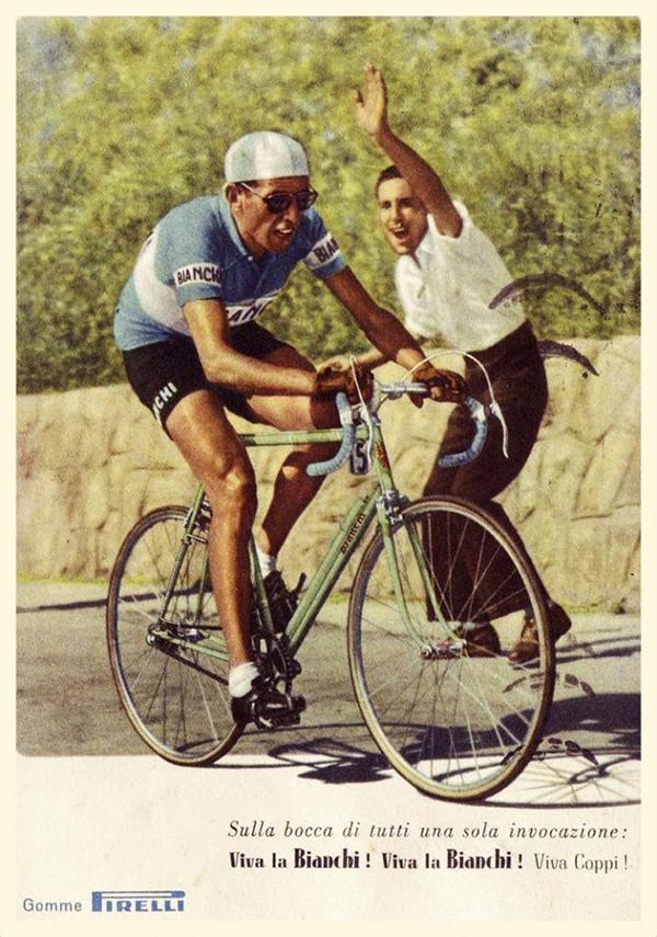 Poster con Coppi per la Bianchi