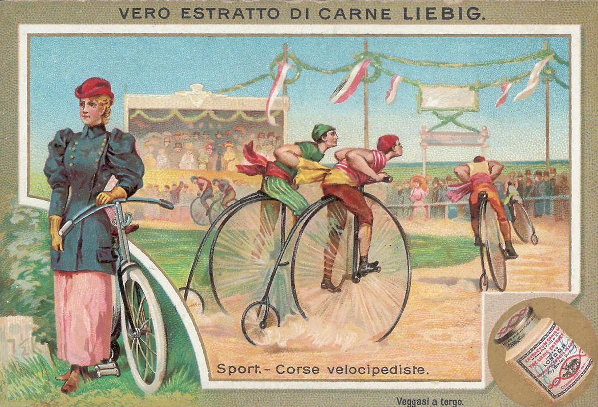 Figurina Liebig corse velocipediste