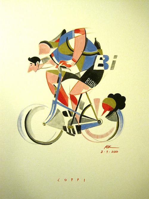 Un disegno su Fausto Coppi