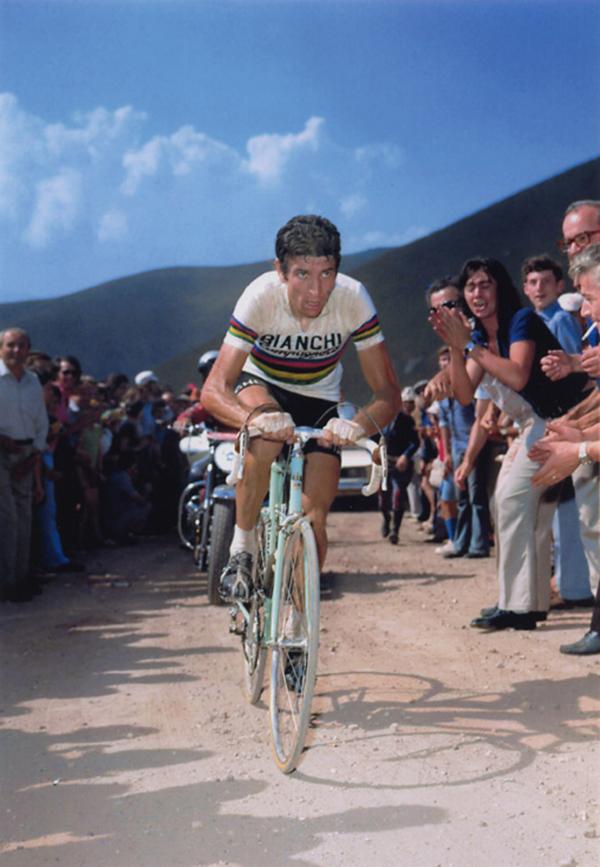 Felice Gimondi in maglia iridata nel 1973