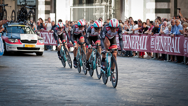Team Radioshack alla crono a squadre di Toscana 2013