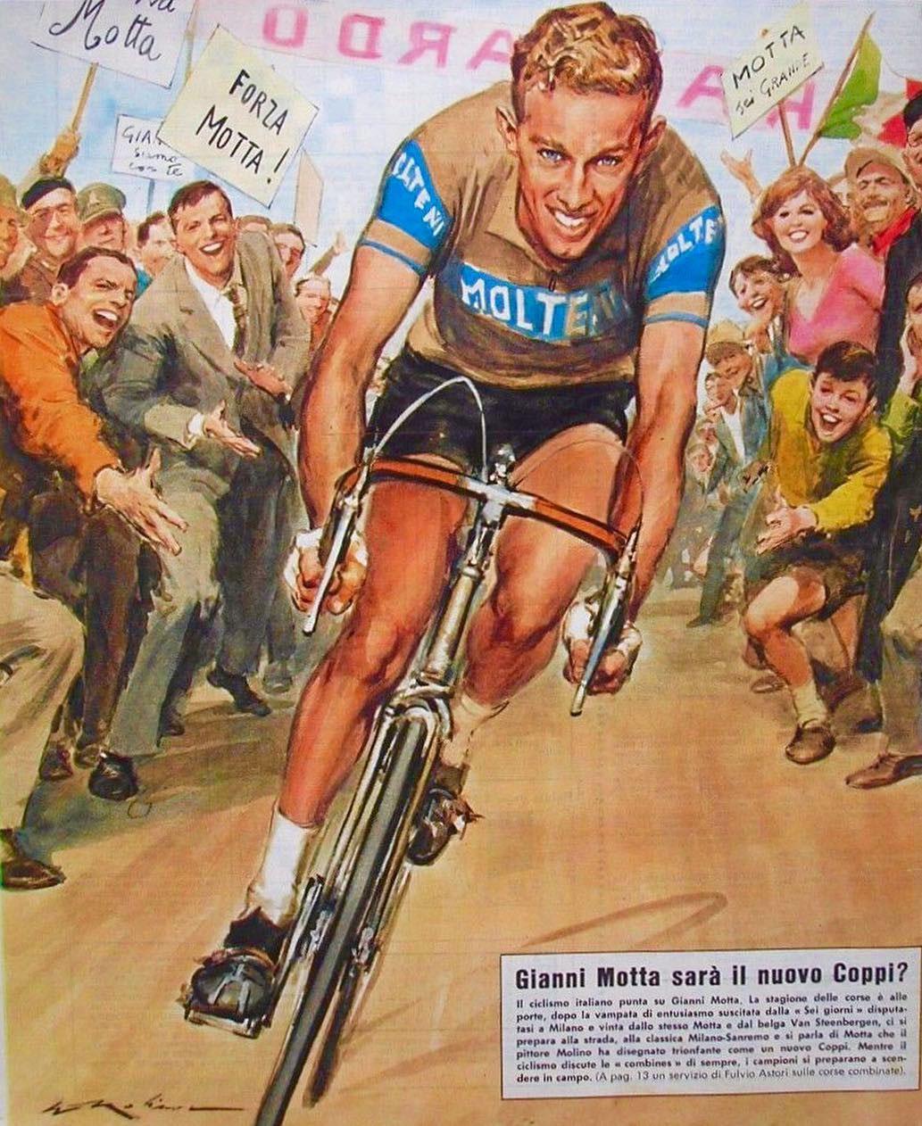 Gianni Motta disegnato su una rivista nel 1966