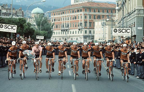 Eddy Merckx al Giro d'Italia in maglia rosa