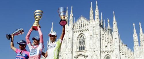 Il podio di Milano con contador, Scarponi e Nibali