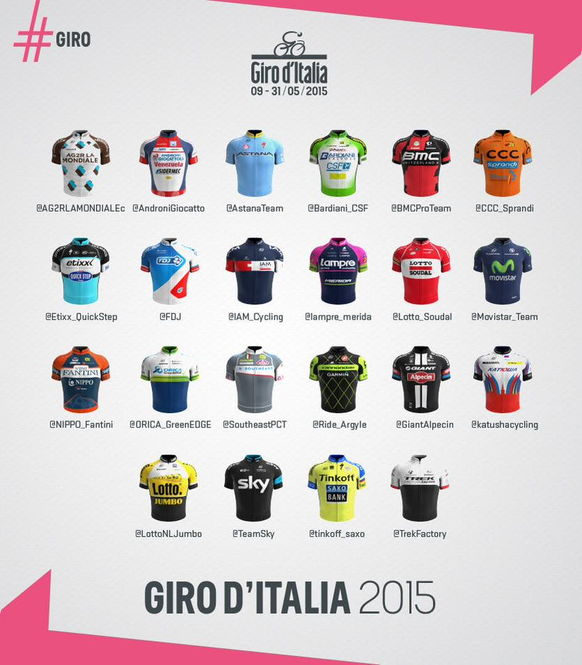 Le 22 squadre al Giro d'Italia 2015
