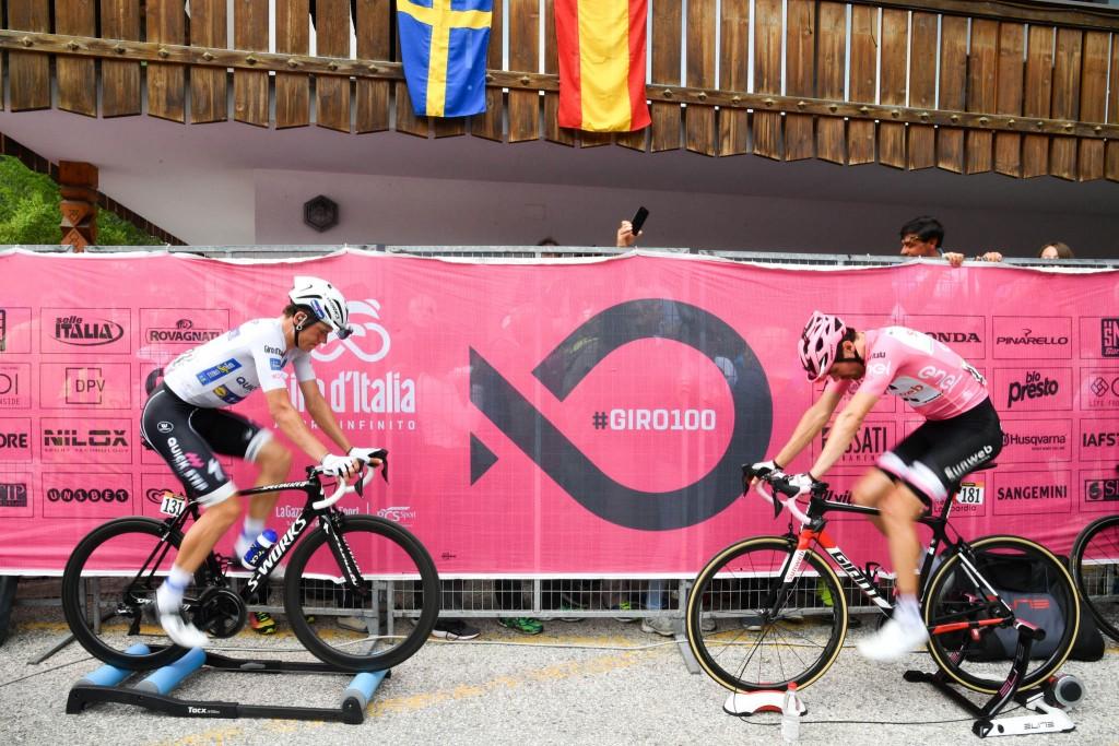 Tom Dumoulin e Bob Jungels sui rulli al Giro 2017