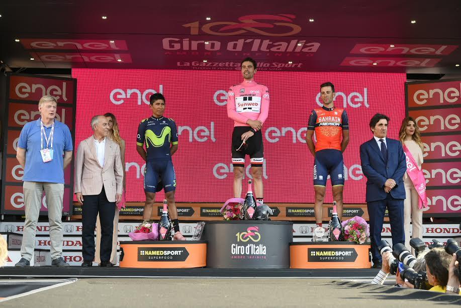 Tom Dumoulin, Nairo Quintana, Vincenzo Nibali sul podio al Giro 2017