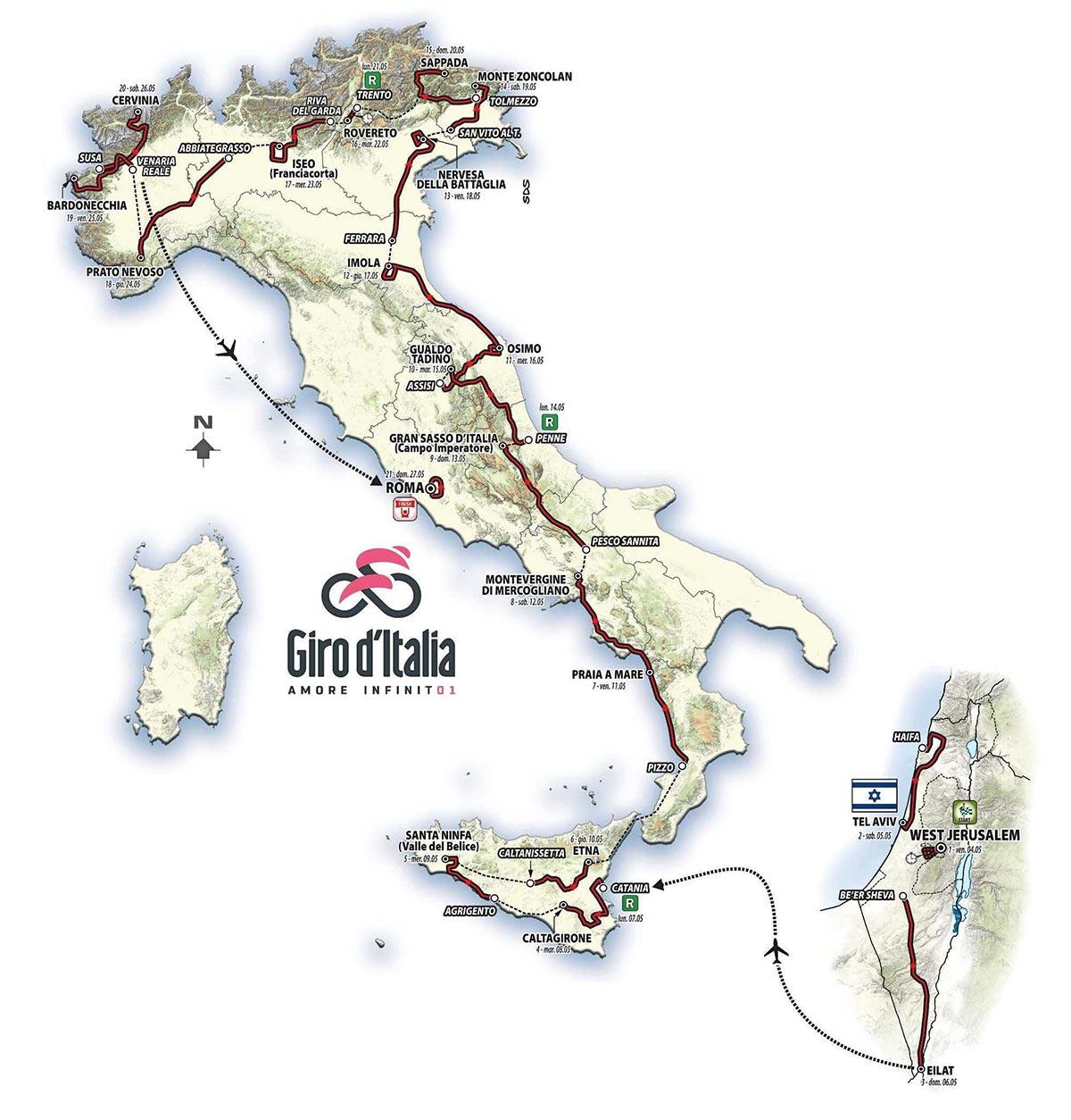Il percorso del Giro d'Italia 2018