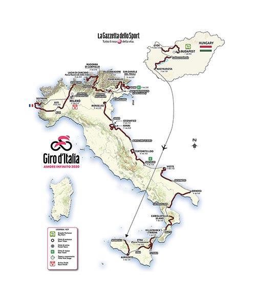 Percorso del Giro d'Italia 2020