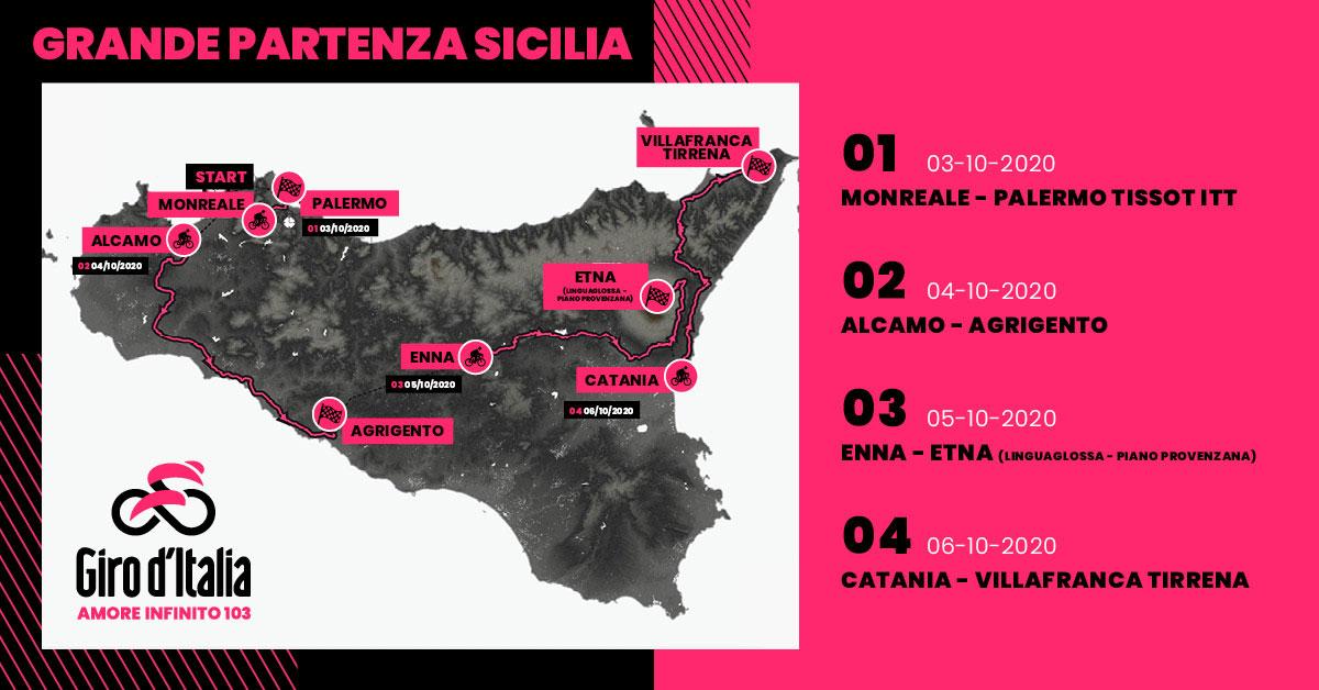 Mappa della Grande Partenza dalla Sicilia del Giro 2020