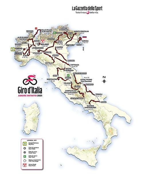 Il percorso del Giro d'Italia