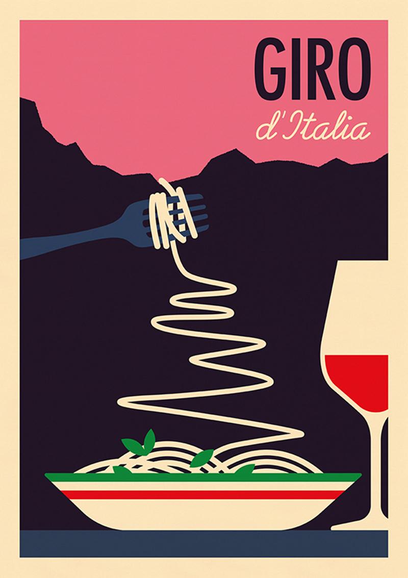 Poster sul Giro d'Italia con pasta e vino