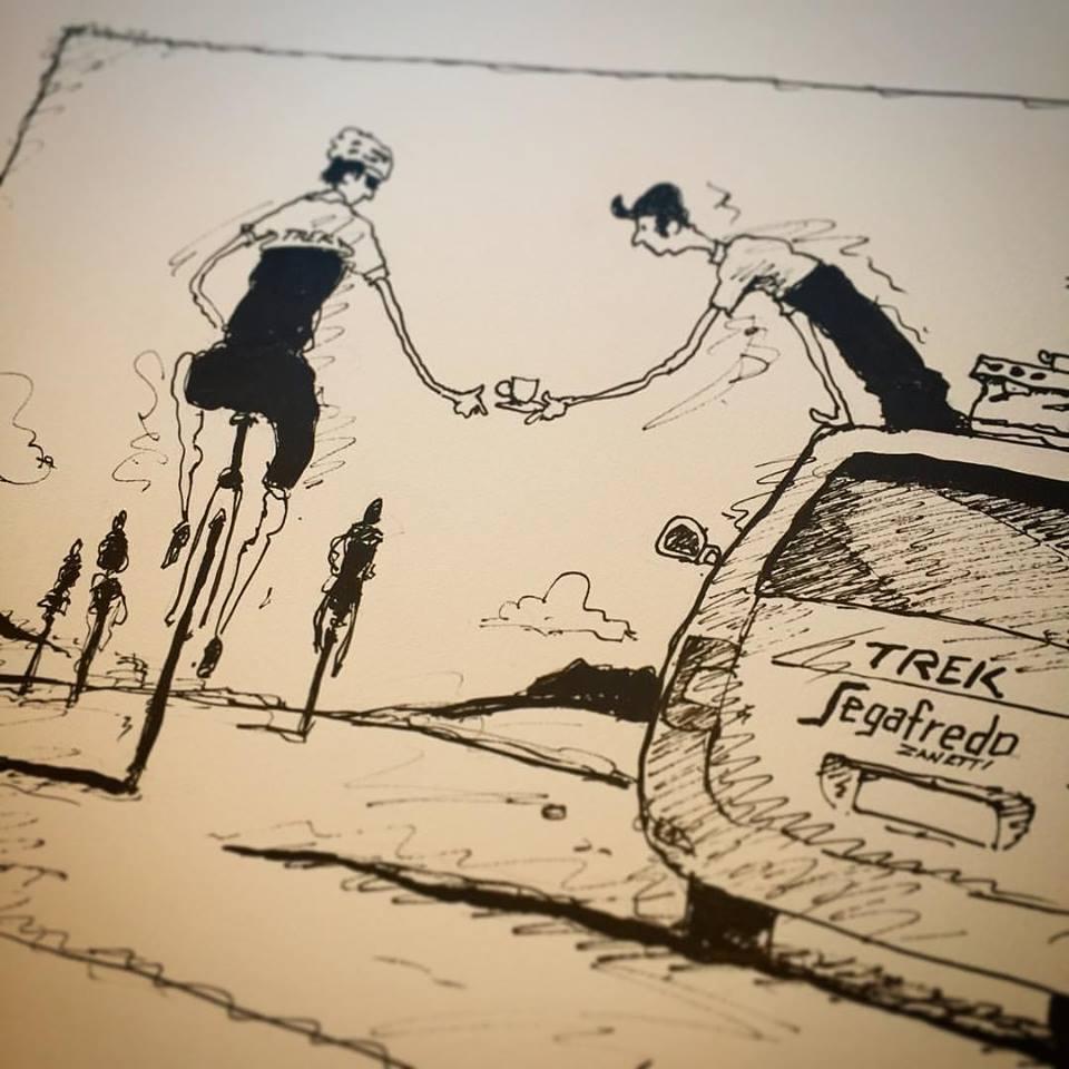 Disegno di ciclisti e caffè