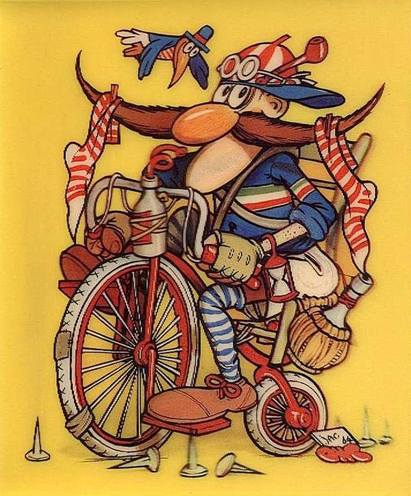 Ciclista disegnato da Jacovitti