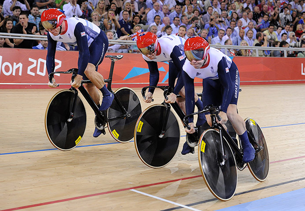 Chris Hoy, Jason Kenny e Philip Hindes a Londra 2012