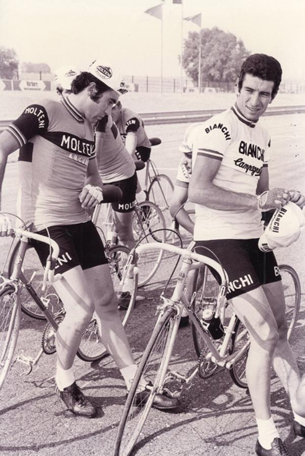 Eddy Merckx e Felice Gimondi al Circuito di Santamonica nel 1973