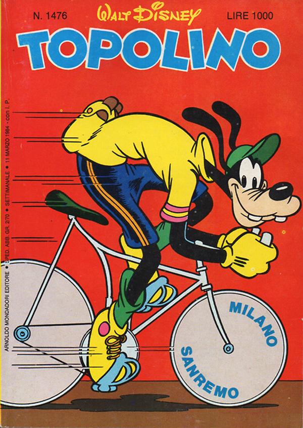 La copertina di Topolino con Pippo alla Milano-Sanremo