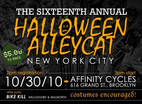 Locandina della Halloween Alleycat a New York