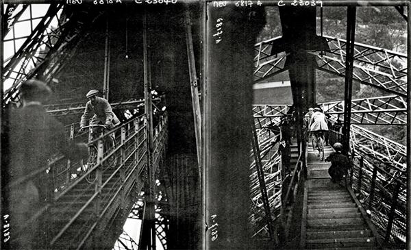 Labric scende dalla Tour Eiffel in bici nel 1923