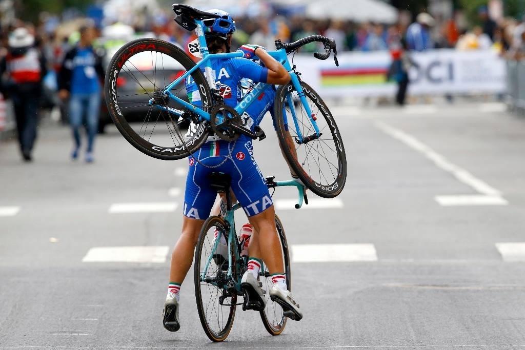 Due ragazze della nazionale italiana di ciclismo a Richmond 2015