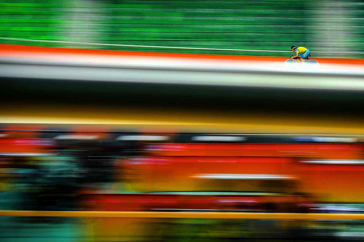 Nathan Hart dell'Australia prova la pista di Rio de Janeiro 2016