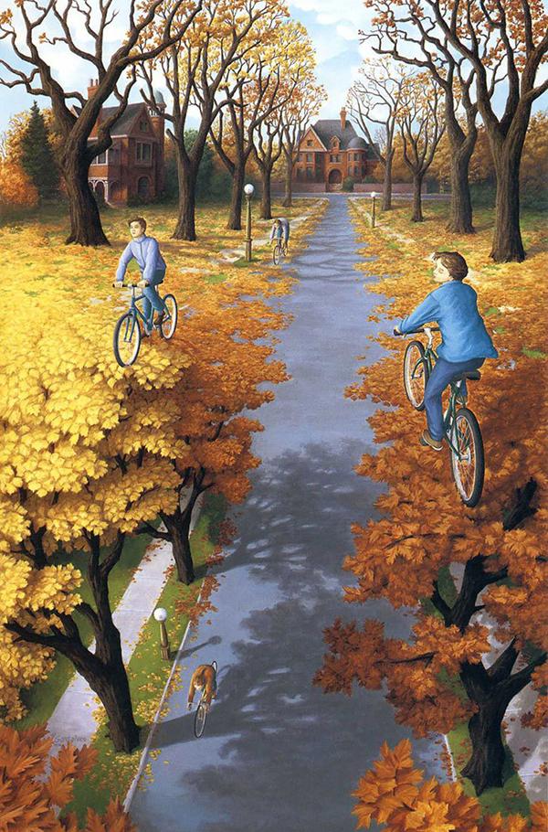 Dipinto surrealista con ciclisti di Rob Gonsalves