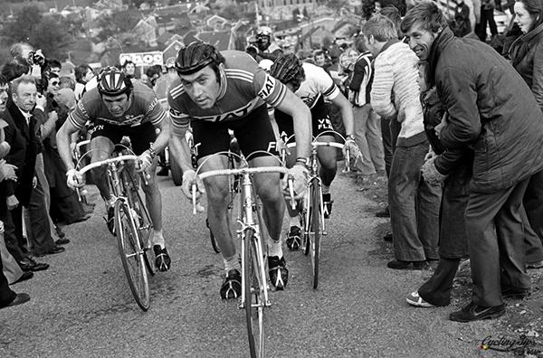 Roger De Vlaeminck, Eddy Merckx e Freddy Maertens al Giro delle Fiandre 1977