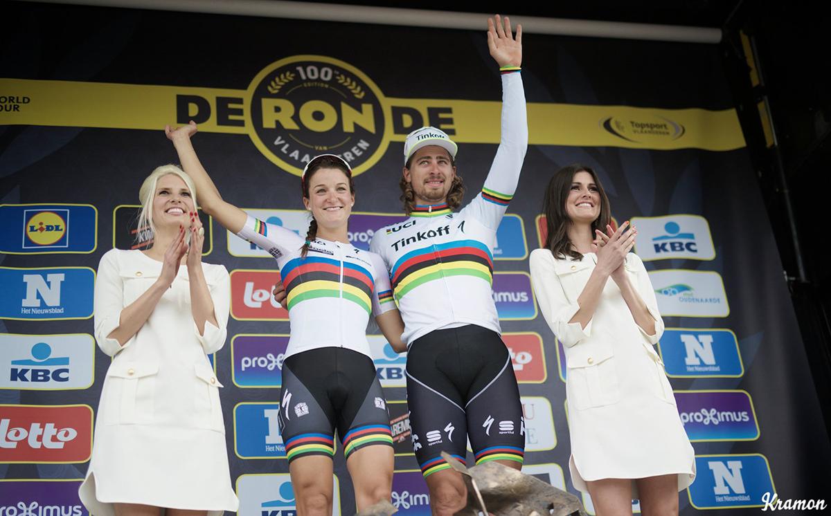 Lizzie Armitstead e Peter Sagan sul podio del Giro delle Fiandre 2016