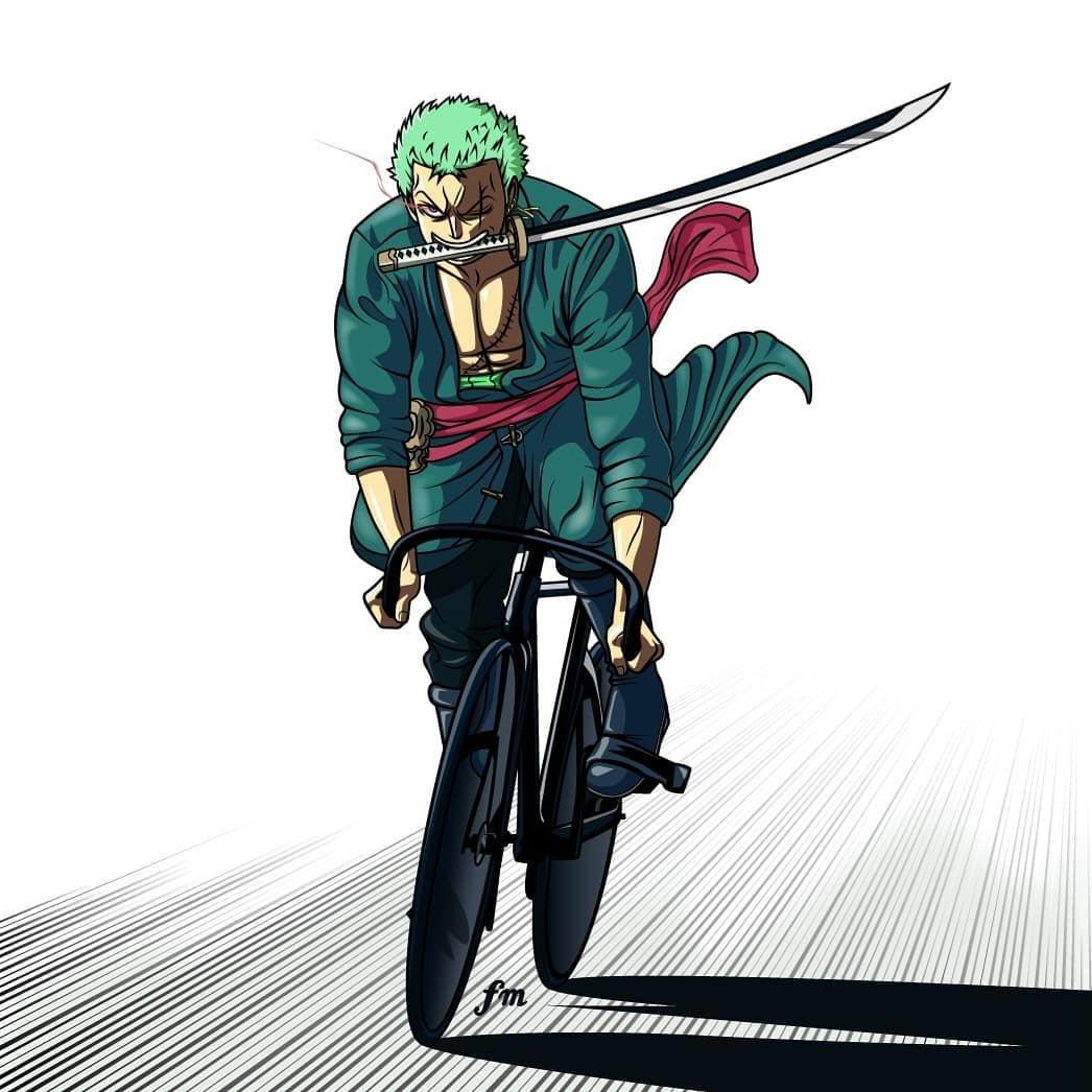 Roronoa Zoro in bici