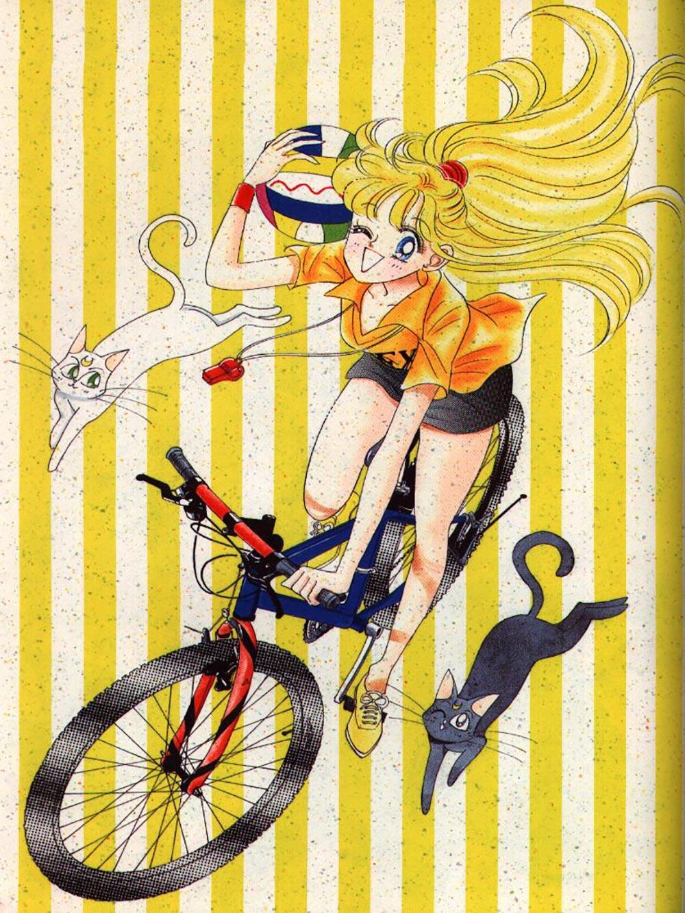 Sailor Venus in bici con Luna e Artemis