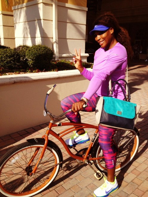 Serena Williams in bici