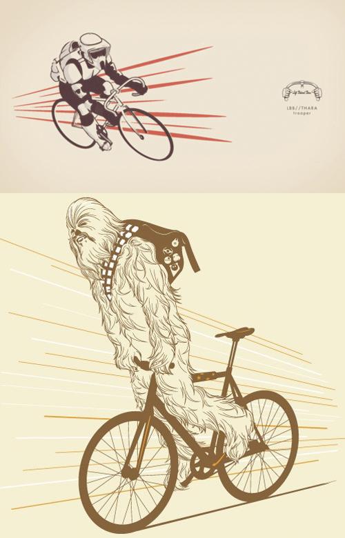 Chewbacca e uno stormtrooper hipster