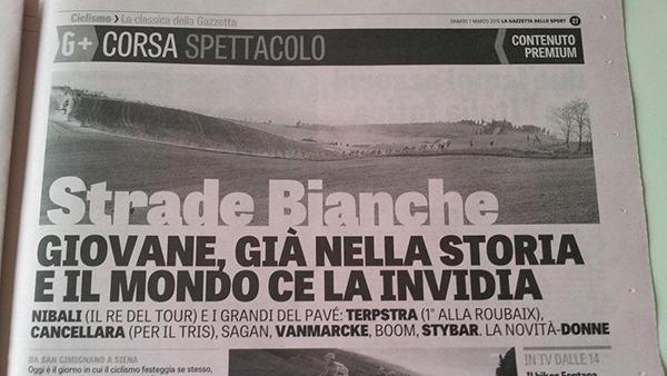 Articolo sulle Strade Bianche 2015 su La Gazzetta dello Sport