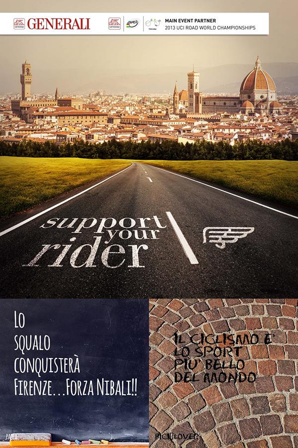 Il tuo messaggio ai campionati mondiali di ciclismo in Toscana