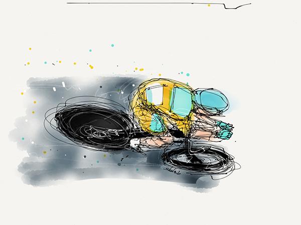 Schizzo ciclista impegnato in una cronometro