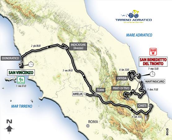 Il percorso della Tirreno Adriatico 2012