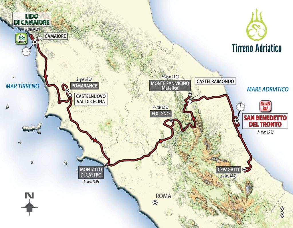 Il percorso della Tirreno-Adriatico 2016