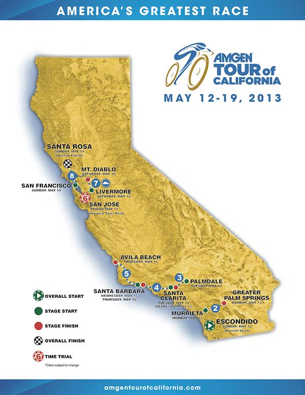 Percorso dell'Amgen Tour of California 2013