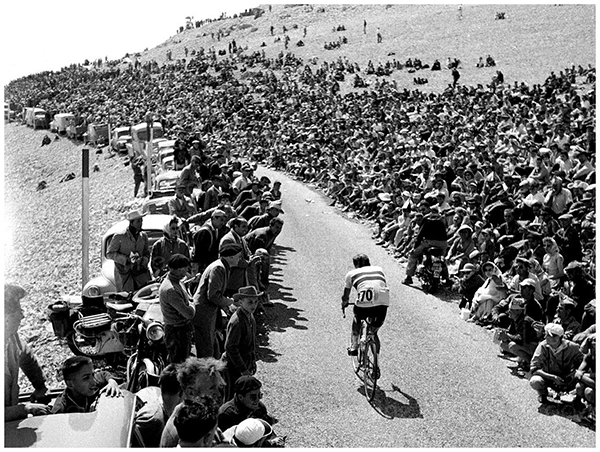 Sul Mt. Ventoux a cronometro durante il Tour 1958