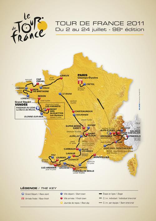 La mappa del percorso del Tour de France 2011