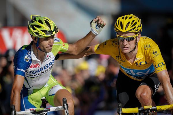 Wiggins e Nibali all'arrivo di La Toussuire