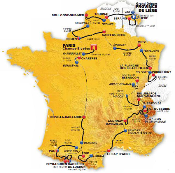 Il percorso del Tour de France 2012