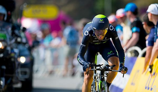 Alejandro Valverde alla crono di Mont Saint-Michel