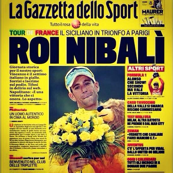 La Gazzetta dello Sport gialla per la vittoria di Nibali al Tour 2014